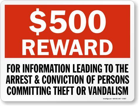 0 Reward For Informing Theft Or Vandalism Sign, Sku