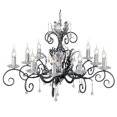 amarilli 10 light chandelier black silver