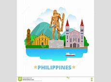Philippines Country Design Template Flat Cartoon S Stock