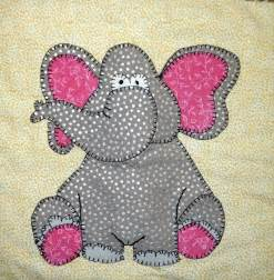 African elephant PDF applique nursery quilt pattern; zoo or or safari animal applique quilt pattern; whimsical kid's quilt pattern