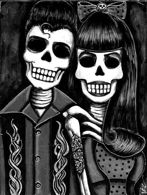 Skull rock 'n roll   Artworks   Art, Rockabilly art, Chicano art