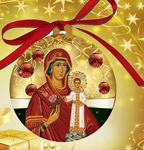 OrnaTheoB Orthodox Christmas Ornament Theotokos Bulb