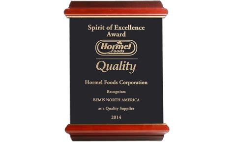 Hormel Foods Recognizes Bemis with Spirit of Excellence ...