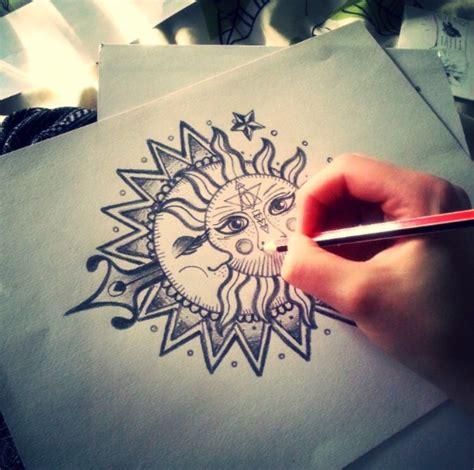 mandala sun  moon tattoo tatouage inspi mandala