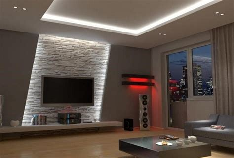 Wohnwände modern in großer auswahl günstig online kaufen. indirekte led Wandbeleuchtung im Wohnzimmer hinter ...