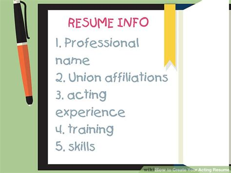 How To Create A Resume Step By Step by How To Create Your Acting Resume 6 Steps With Pictures