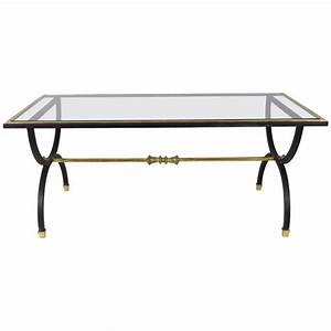 neoclassical black steel brass and bronze coffee table With bronze metal coffee table