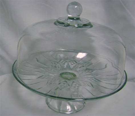 vintage cake stand  lid glass clear wedding party