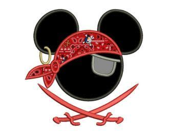 Mickey And Minnie Mouse Pic Looks Like Pirate Mickey Mouse Ears Pirate Applique With Two Swords Machine Embroidery Digitized