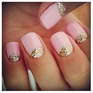 nail colors pink gold glitter tip nails nail gel