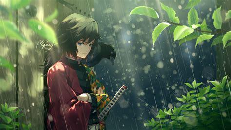 demon slayer giyuu tomioka standing  rain  plants