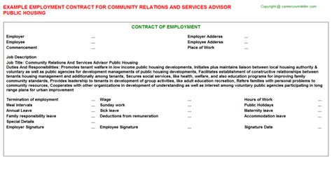 community liaison job contracts examples