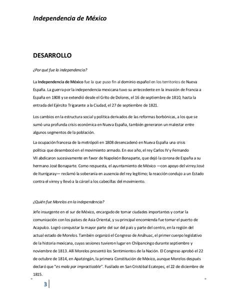 Un Resumen De La Independencia De Mexico by Ensayo Sobre Independencia De Mexico