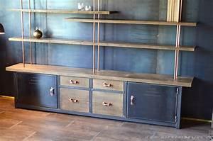 Meuble Acier Bois : amazing meuble tv industriel bois metal 14 265meuble bibliotheque sur mesure bois acier cuivre ~ Teatrodelosmanantiales.com Idées de Décoration