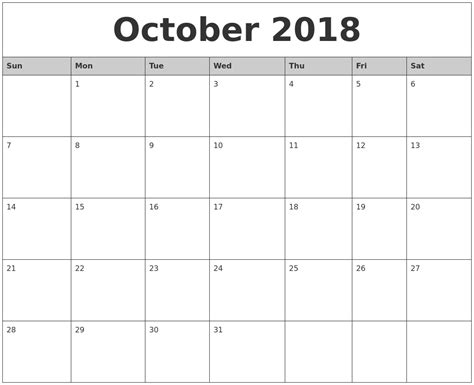 october monthly calendar printable