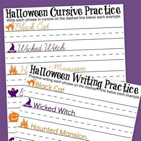halloween cursive handwriting practice worksheets