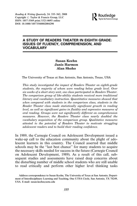 in grade fluency comprehension and vocabulary pdf a study of readers theater in eighth grade issues of fluency comprehension and vocabulary