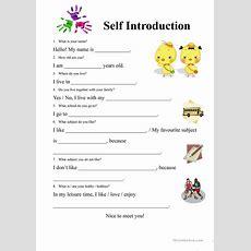 Selfintroduction Form Worksheet  Free Esl Printable Worksheets Made By Teachers