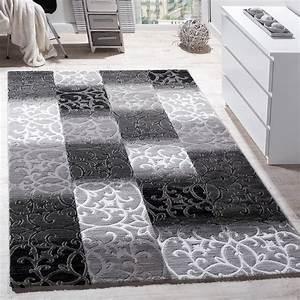 Teppich Für Essbereich : teppich wohnzimmer kariert abstrakt grau design teppiche ~ Michelbontemps.com Haus und Dekorationen