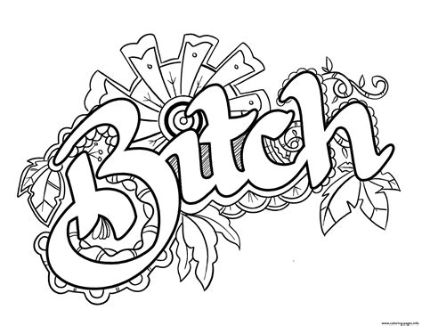 Bitch Swear Word Coloring Pages Printable For Adults To ...