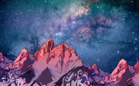 galaxy background mountains  wallpaper aesthetic