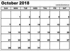 October 2018 Printable Calendar monthly printable calendar
