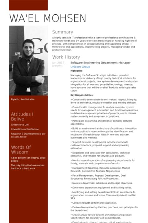 software development manager resume sle