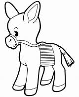 Donkey Coloring Printable Animals Pages Drawing sketch template