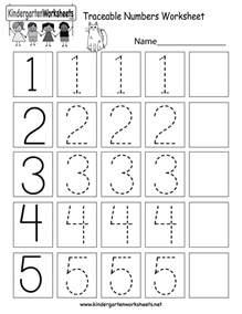 Kindergarten Traceable Number Worksheets