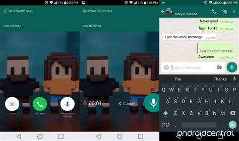 whatsapp beta update brings voicemail and a new font android central