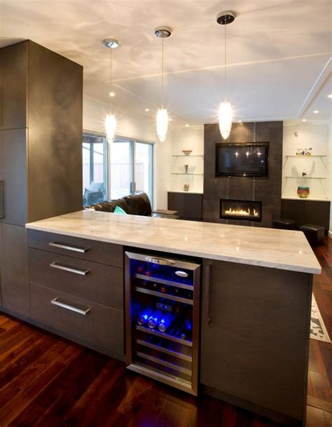 Living Room Divider by Wine Fridge Contemporary Kitchen Other Metro By