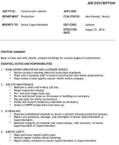 construction laborer job description sample  examples