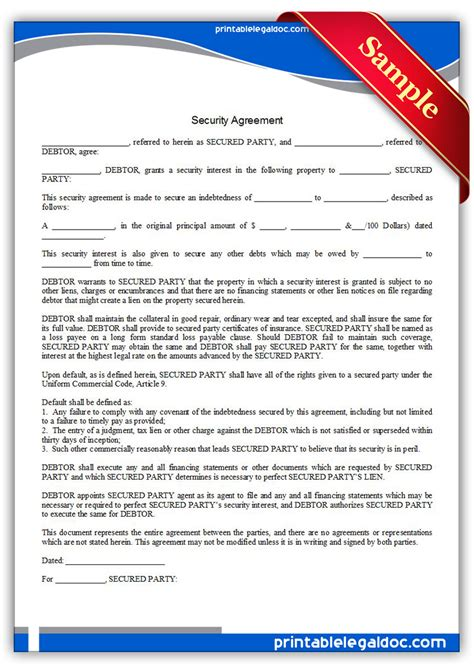 printable security agreement form generic