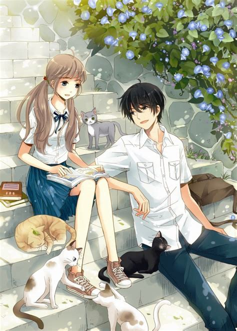 anime couple and cat untitled image 2805854 by miss dior on favim com