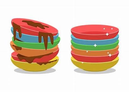 Dirty Dishes Cartoon Clean Scraps Clip Plate