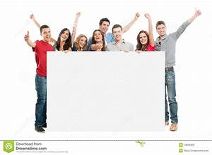 Happy People With White Board Stock Photo - Image: 19846920