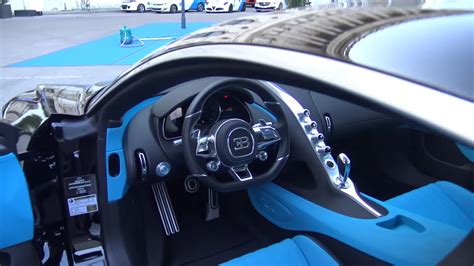 black bugatti chiron in vienna, austria; interior view ...
