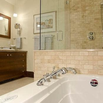 travertine subway tile transitional bathroom sherwin
