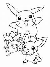 Pichu Coloring Pages Pikachu Printable Machu Getcolorings sketch template