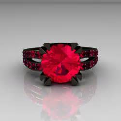 black wedding ring sets modern vintage 14k black gold 3 0 carat ruby solitaire and wedding ring bridal set r102s 14kbgr