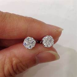 drop hoop earrings 18k 3 4 carat 5 diamond stud earrings si g white gold