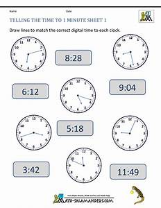 Free Clock Worksheets Telling The Time To 1 Min 1