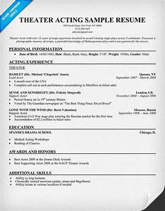 Theater Acting Resume Example resume panion