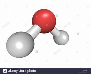 Chemical Structure Of A Water Molecule  H2o Stock Photo