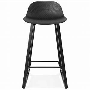 Chaise Mi Hauteur : tabouret de bar chaise de bar mi hauteur design obeline mini noir ~ Teatrodelosmanantiales.com Idées de Décoration
