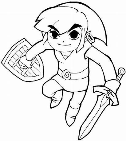 Zelda Legend Link Draw Cartoon Coloring Pages