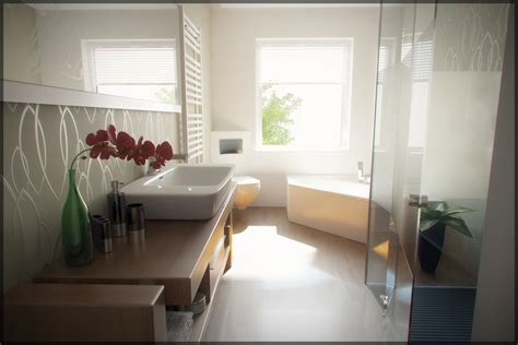 Contemporary Bathroom Wallpaper Home Design Ideas
