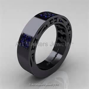 mens sapphire wedding bands mens modern vintage 14k black gold blue sapphire wedding band r474m 14kbgbs