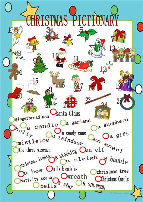 christmas pictionary worksheet  esl printable