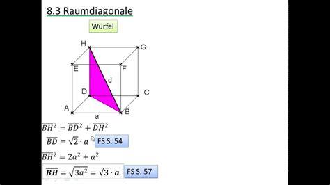raumdiagonale youtube